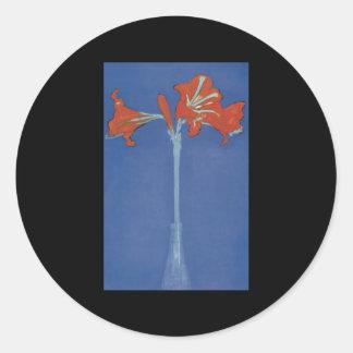 Mondrian Amaryllis in a Flash Round Stickers