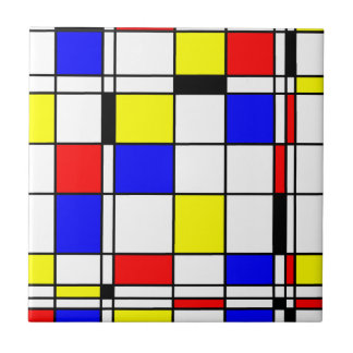 Mondrian art style ceramic tile