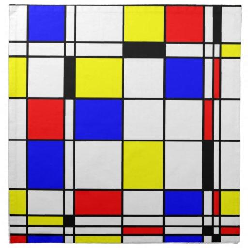 Mondrian art style cloth napkins zazzle - Tapis style mondrian ...