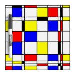 Mondrian art style dry erase whiteboard