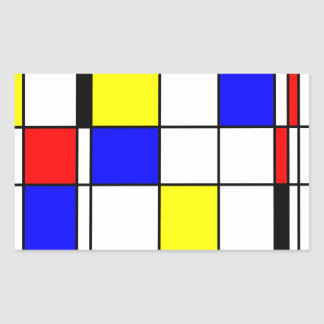 Mondrian art style rectangular sticker