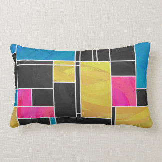 Mondrian Blue Pink Black Print Pillow