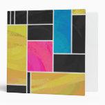 Mondrian Blue Pink Black Print Vinyl Binder