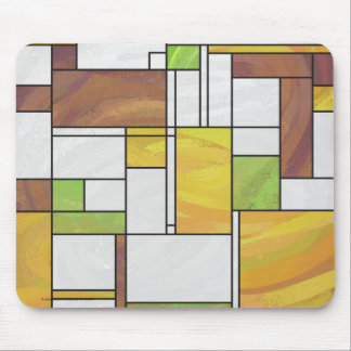 Mondrian Brown Yellow Green Print Mouse Pad