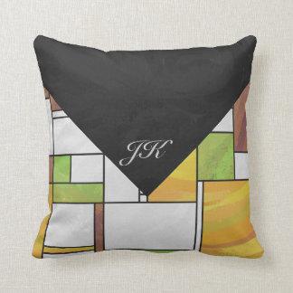 Mondrian Brown Yellow Green Print Pillow