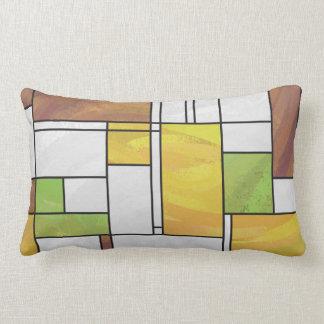 Mondrian Brown Yellow Green Print Pillows