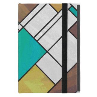 Mondrian Brown Yellow Teal Print Cover For iPad Mini