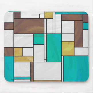 Mondrian Brown Yellow Teal Print Mouse Pad