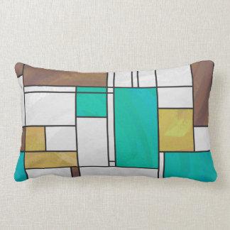 Mondrian Brown Yellow Teal Print Pillows
