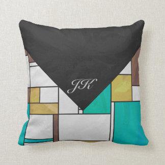 Mondrian Brown Yellow Teal Print Throw Pillow