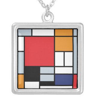 Mondrian - composición con el avión rojo grande colgante cuadrado