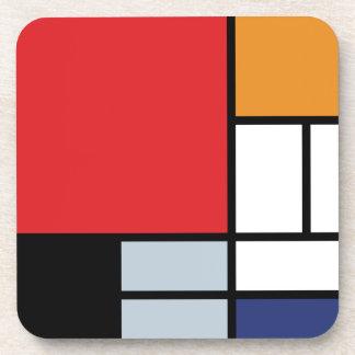 Mondrian - composición con el avión rojo grande posavasos de bebida