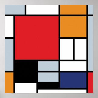 Mondrian - composición con el avión rojo grande póster