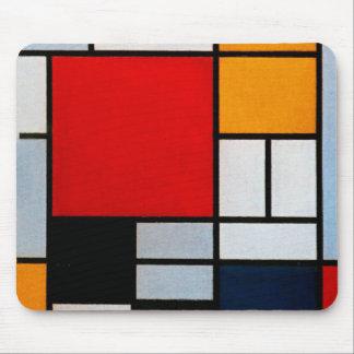 Mondrian - composición con el avión rojo grande tapete de raton