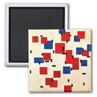Mondrian - composición en el color A Imán Cuadrado