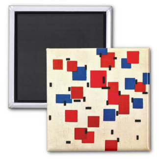 Mondrian - Composition in Color A 2 Inch Square Magnet