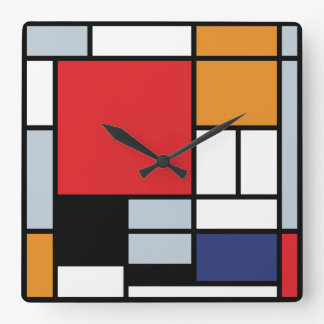 Mondrian Composition with Large Red Plane Wallclocks