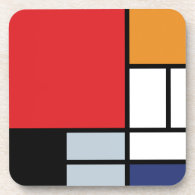 Mondrian - Composition With Large Red Plane Coasters