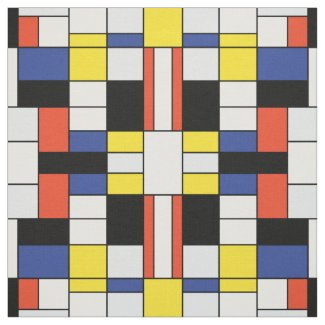 Mondrian - Composition With Large Red Plane Fabric