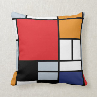 Mondrian Composition with Large Red Plane Throw Pillows