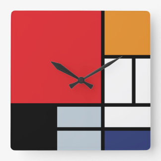 Mondrian Composition with Large Red Plane Square Wall Clock