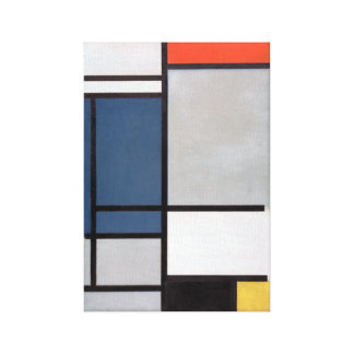 Mondrian Composition with Red, Blue, Black, Yellow Canvas Print