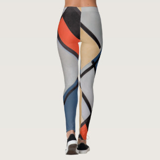 Mondrian Composition with Red, Blue, Black, Yellow Leggings