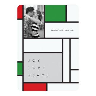 Mondrian De Stijl Minimalist Photo Holiday Card