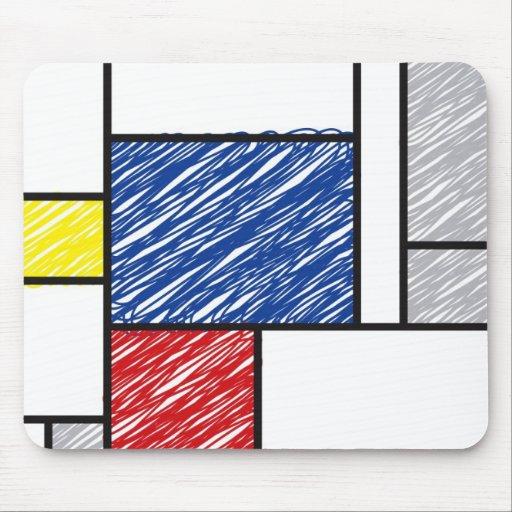 Mondrian garabatea el arte de Stijl del Minimalism Tapete De Ratones