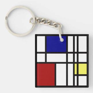 Mondrian Impression Art Keychain