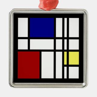 Mondrian Impression Art Metal Ornament