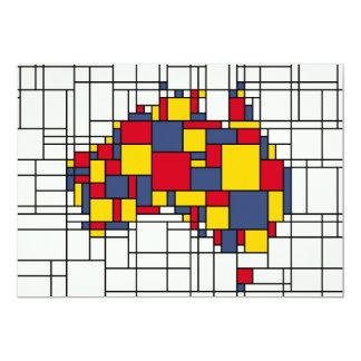 Mondrian inspired Australia Map 13 Cm X 18 Cm Invitation Card