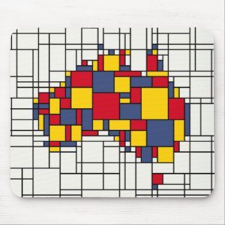 Mondrian inspired Australia Map Mouse Pad