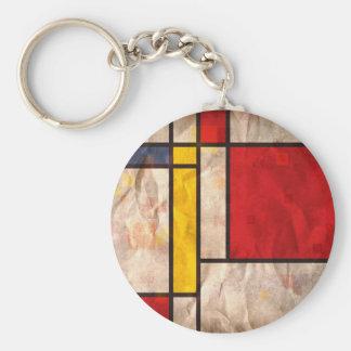 Mondrian Inspired Basic Round Button Keychain