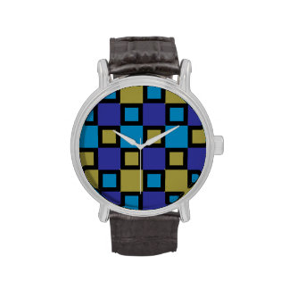 Mondrian-Inspired Blue Squares Colorful Watch