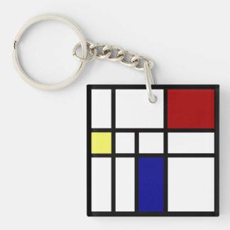 Mondrian Inspired Design Keychain