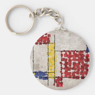 Mondrian Inspired Squares Keychain