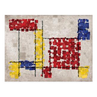 Mondrian Inspired Squares Postcard