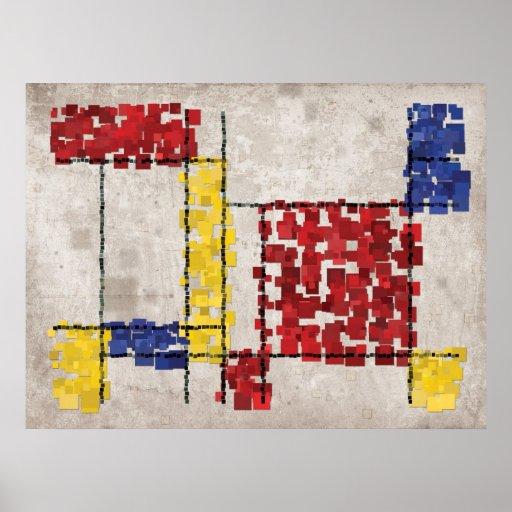 Mondrian Inspired Squares Poster