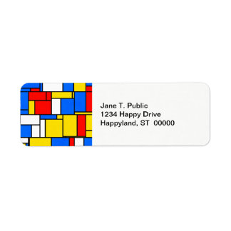 Mondrian Inspired Style Red Blue Yellow Pattern Label