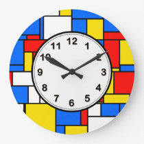 Mondrian Inspired Style Red Blue Yellow Pattern Large Clock