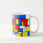 Mondrian Inspired Style Red Blue Yellow Pattern Coffee Mug