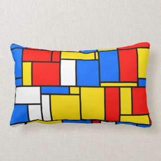 Mondrian Inspired Style Red Blue Yellow Pattern Throw Pillow