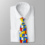 Mondrian Inspired Style Red Blue Yellow Pattern Tie