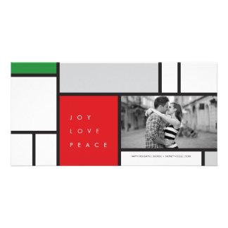 Mondrian Joy Peace Love Modern Holiday Photo Card