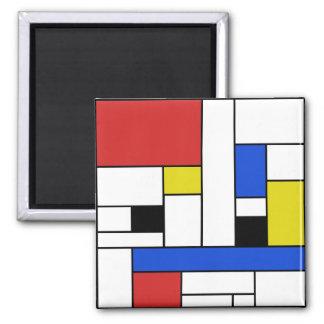Mondrian Lines 2 Inch Square Magnet