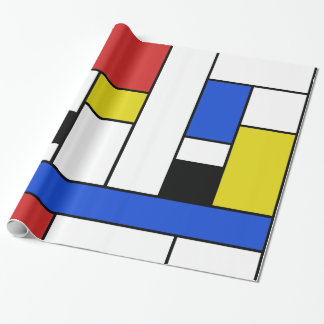 """Mondrian Lines Glossy Wrapping Paper, 30"""" x 6' Wrapping Paper"""
