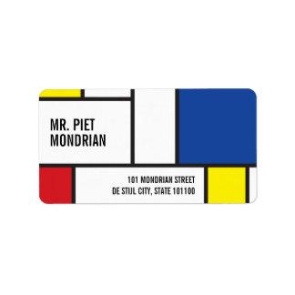 Mondrian Minimalist De Stijl Art Address Labels