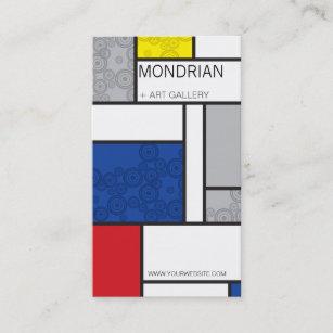 Mondrian Minimalist De Stijl Art Retro Circles Business Card