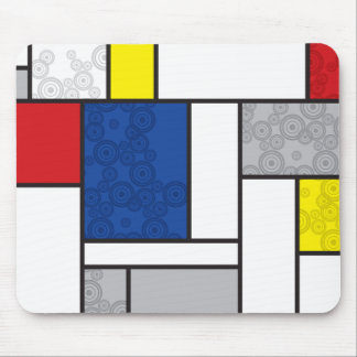 Mondrian Minimalist De Stijl Art Retro Circles Mouse Pad
